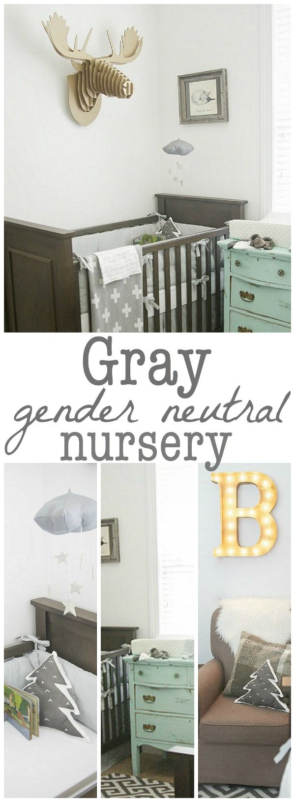 Gray Nursery - shared nursery inspiration & gender neutral! This is dreamy!