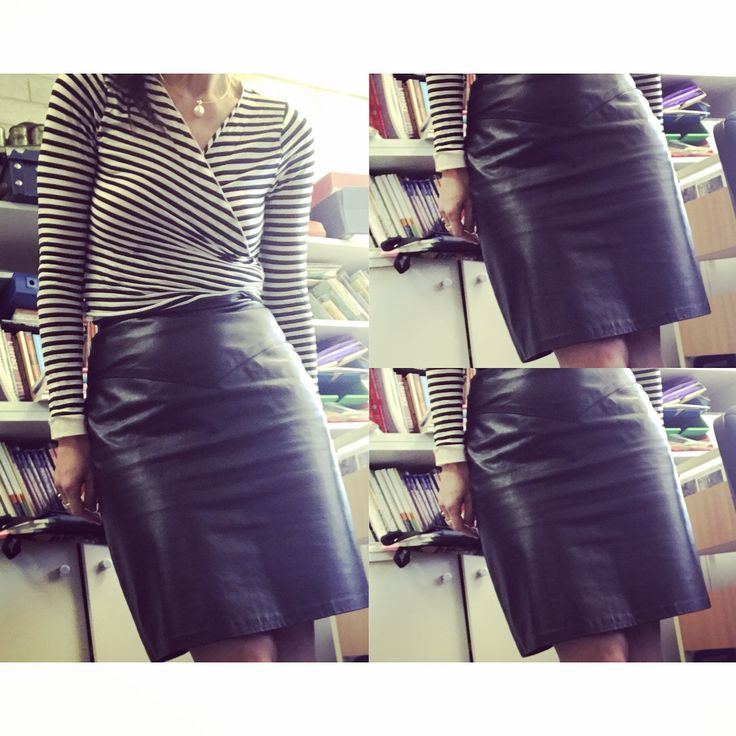 Leather skirt from Op Shop ($12) with Metalicus wrap top. Simple style.