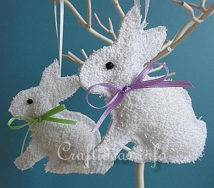 """Washcloth Easter Bunnies for kids to make during Easter for a beautiful """"Easter Tree"""""""