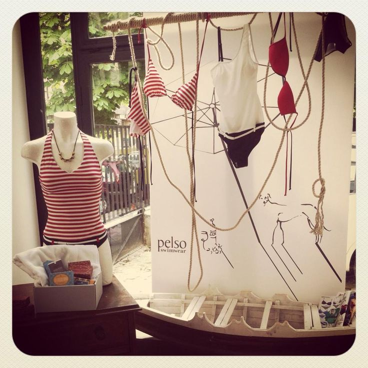 Creative display of swimsuits #navystyle @pelsoswimwear