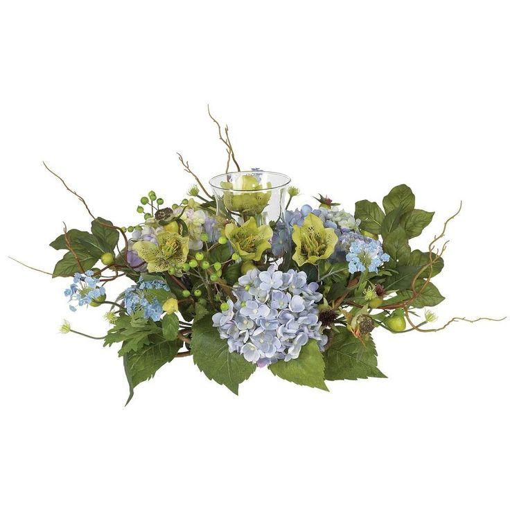 Fast natürliche Hydrangea Candelabrum Silk Flower Arrangement-4632-BL   – FALL OFFICE DECORATING