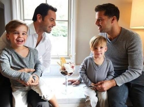 Ricky Martin, his partner and their twins :)