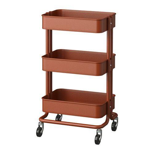 IKEA - RÅSKOG, Desserte, Une construction robuste et quatre roulettes vous permettent de déplacer facilement le chariot et de l'utiliser où vous voulez. Avec ses dimensions réduites, il trouve même sa place dans les petites pièces.La desserte s'adapte à vos besoins de rangement grâce au casier du milieu qui est réglable en hauteur.
