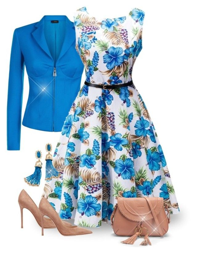Vintage Blue Floral Dress by majezy on Polyvore featuring La Perla, Gianvito Rossi, See by Chloé, Kendra Scott and vintage