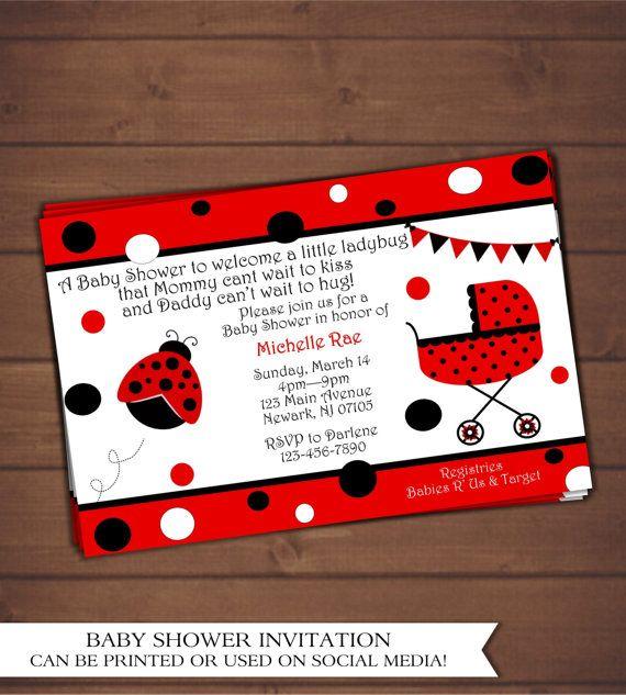 Ladybug Baby Shower Invitation by CindysEventCreations on Etsy