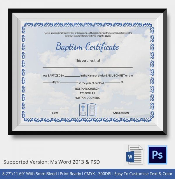 Baptism Certificate 19 Free Word Pdf Documents Download Pertaining To Baptism Certificate Template Template Word Certificate Template Certificate Templates