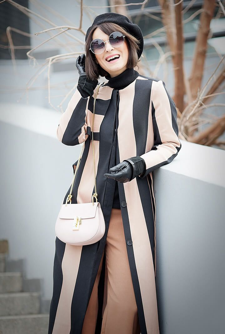 chloe drew bag | asos striped coat | beret spring outfit | round sunglasses | chic style | street style | spring outfit ideas