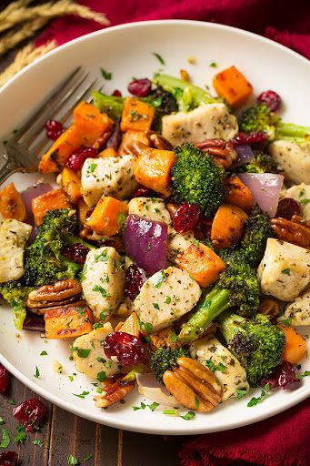Chicken Broccoli And Sweet Potato Sheet Pan Dinner With Sweet Potatoes, Olive Oil, Boneless Skinless Chicken Breasts, Broccoli Florets, Purple Onion, Garlic, Dried Thyme, Nutmeg, Salt, Freshly Ground Black Pepper, Pecans, Dried Cranberries