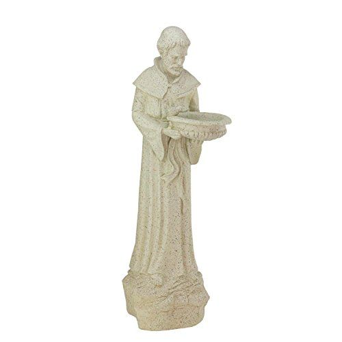 24 St Francis Of Assisi Speckled Gray Religious Bird Feeder Outdoor Garden  Patio Statue * Locate