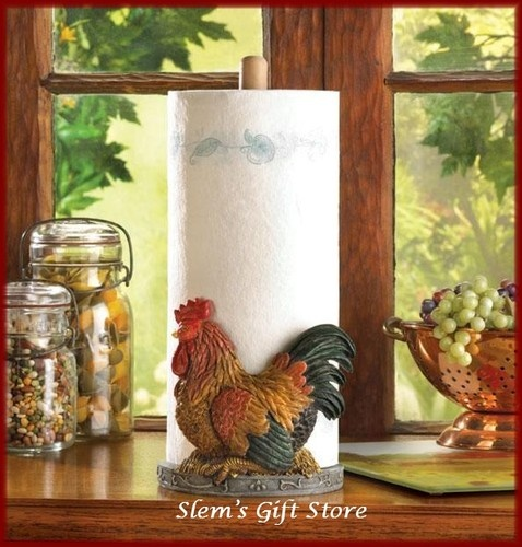 Country Rooster Paper Towel Holder Chicken Kitchen Decor NIB Free S $19.95  Http://