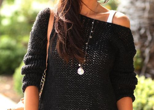 Sweater and tank….my fashion for the fallShoulder Sweaters, Fashion, Style, Clothing, Over Sweaters, Cozy Sweaters, Black Sweaters, Knits Sweaters, Dreams Closets