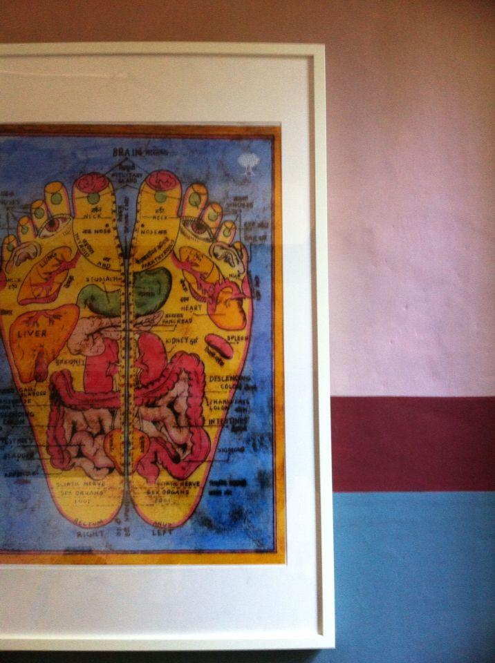 La mappa di Riflessologia plantare all'interno dello spazio dei trattamenti del mio studio di naturopatia!