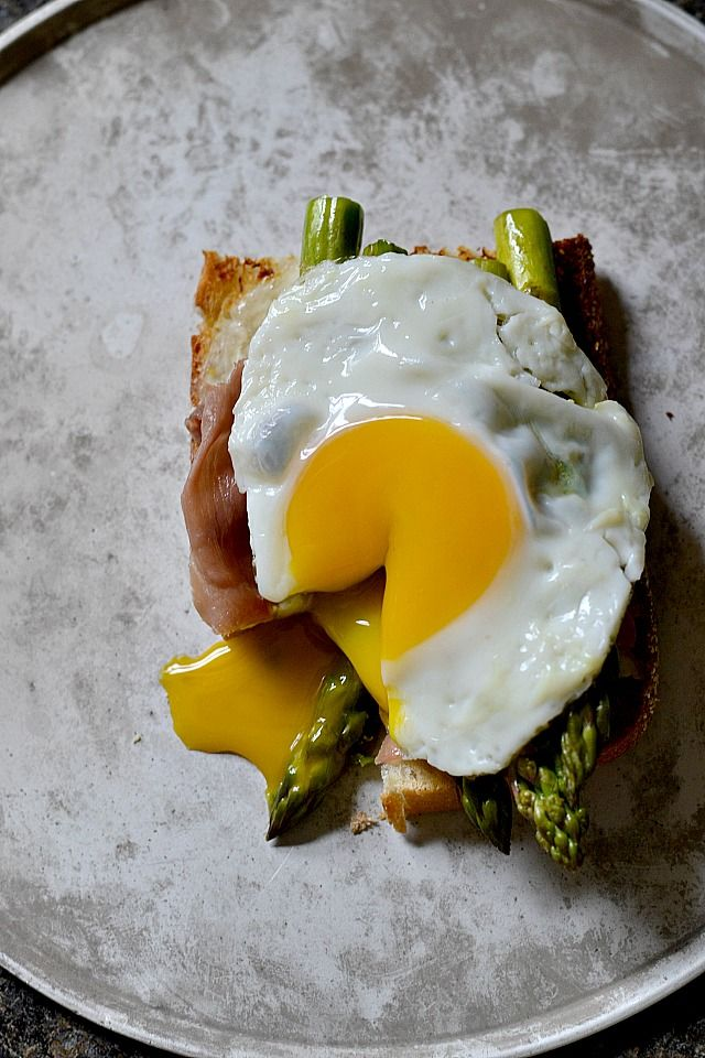 — Goat Cheese, Asparagus and Prosciutto Egg Sandwiches