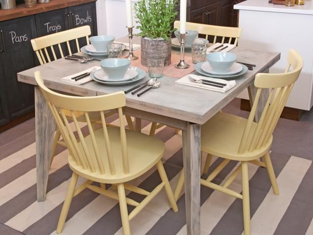 how to paint your kitchen table. maybe a white title with different color chairs
