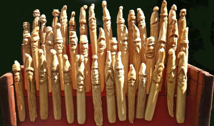 Carved clothes pins