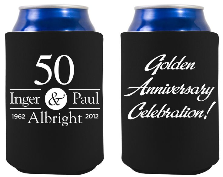 Front back of golden anniversary koozie th