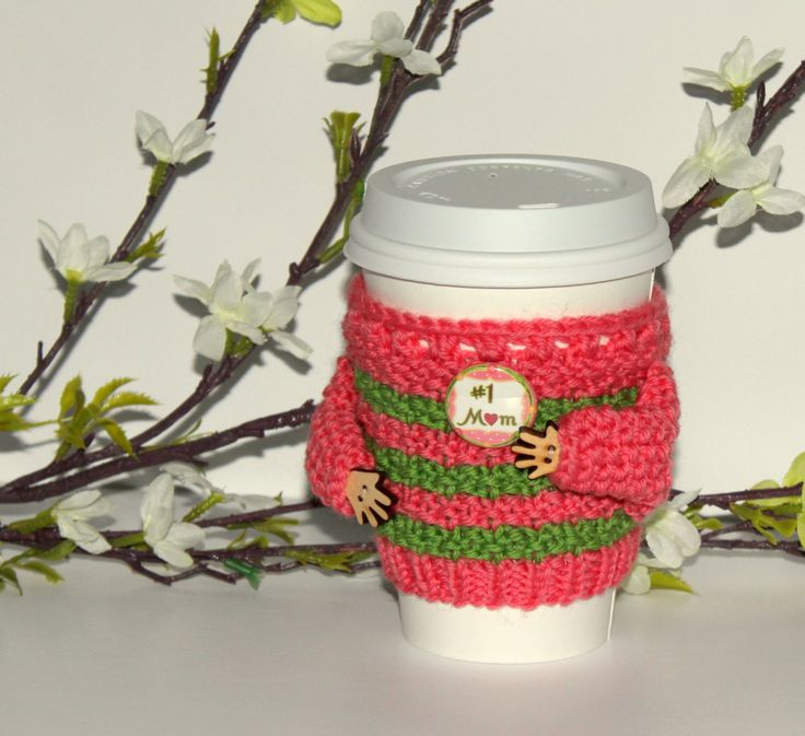 Mothers Day coffee cozy. Cup sleeve. Hand knitted travel mug cozy Number one mom Mother's day gift Coral green. Spring. Starbucks cup sleeve by MugHugCozy on Etsy