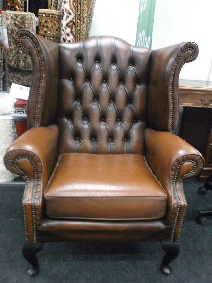gorgeous brown leather armchair w40