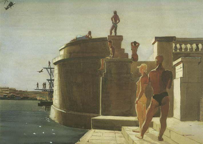 Alexander Deineka. Painting. Sevastopol. Water station Dinamo. 1934