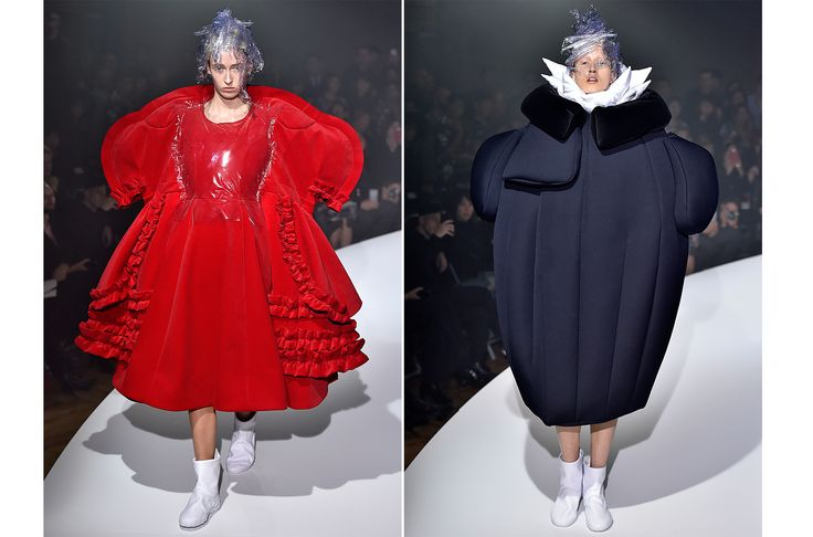 """Spring 2017 - The """"Invisible Clothes"""" collection was anything but—the oversized garments, which looked like caricatures of everyday pieces, were described by the brand as """"the purest, most extreme version of Comme des Garçons."""""""