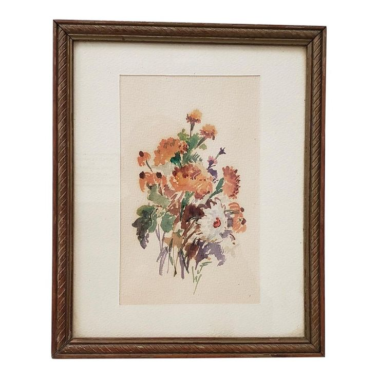 Vintage 1960s Watercolor of Fresh Picked Flowers by Jessie Walberg (New York, 20th C.)