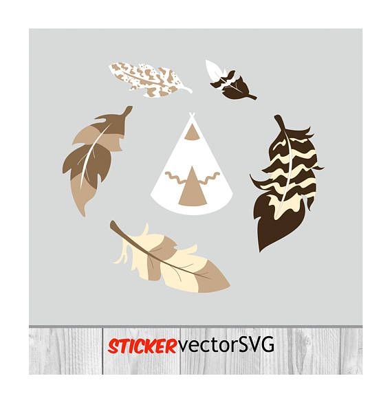 Sticker | wall design | feather | Indian | nursery |home decor| vector| SVG file | Monogram | Cut Files | instant download | Digital Files