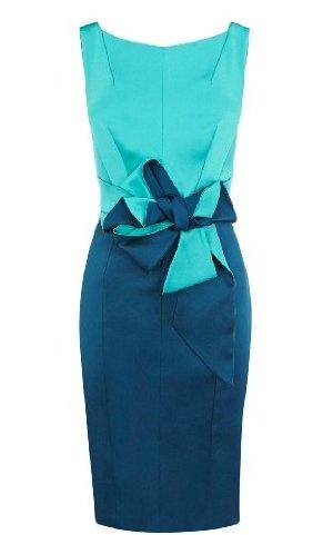 Colorblocked Stretch Satin Dress Karren Millen $350