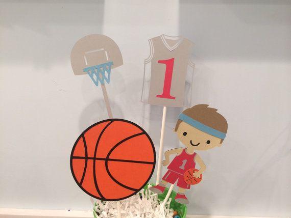 Centro de mesa de baloncesto  bebé ducha  Banner de feliz