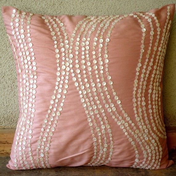 Decorative Pillow Covers Accent Pillow Couch Toss Bedding Sofa Pillow 16x16 Inch Pink Silk Pillow Cover Embroidered with Pearl Angelic Charm...