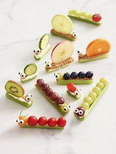 Essen anrichten, Häppchen, kalt, Tiere wie Raupen und Schnecken aus Obst, gesund, Gemüse, feiern, Feier, für Kinder, mit Kindern, dekorieren, Für die Schule, Party, Gäste