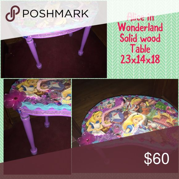 Alice in wonderland solid wood table Price includes addition shipping that I will have to pay due to size Accessories