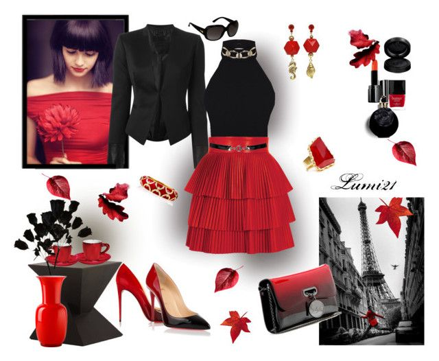 red and black prefall by lumi-21 on Polyvore featuring Miss Selfridge, Philipp Plein, Balmain, Christian Louboutin, Ciner, Tarina Tarantino, Sam Edelman, Gucci, Dorothy Perkins and Illamasqua