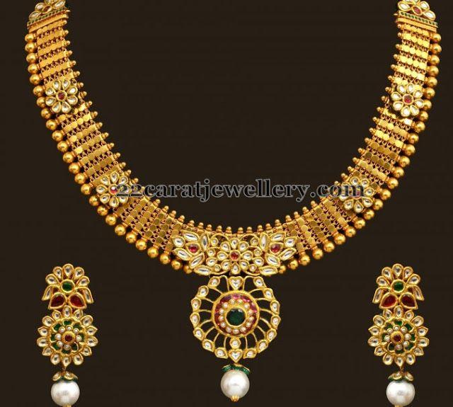 Kundan Floral Design Necklace | Jewellery Designs