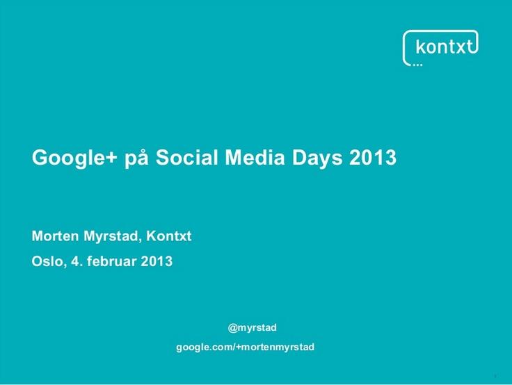 Google+ på social media days 2013