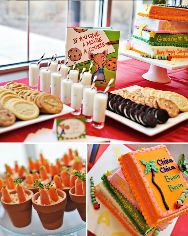 "Book-themed baby shower. What an awesome idea! ""[W]e knew we wanted to have the guest bring their favorite book as a child with their message inside instead of a card. When thinking about this, I decided to take it a step further and have the whole party be centered around children's books.""  Would be a neat kids birthday party too!"