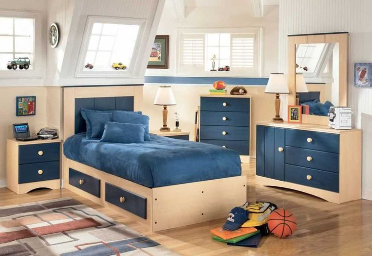 Bedroom Ideas for Small Room with ble bed and wooden cupboard also wooden floor