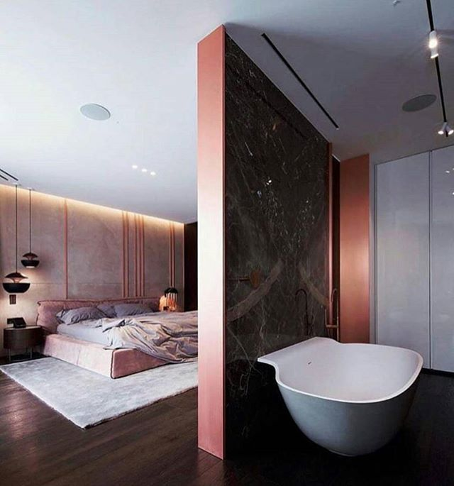 All Over CONTEMPORARY Perfection 😍💯 #RoseGold&Grey - From the bedroom wall panelling to the open plan bathroom - posted by ENTICING INTERIORS https://www.instagram.com/enticinginteriors - See more Luxury Real Estate photos from Local Realtors at https://LocalRealtors.com/stream