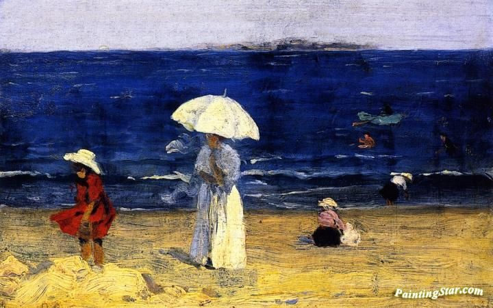 The Beach at Dinard Artwork by Clarence Gagnon Hand-painted and Art Prints on canvas for sale,you can custom the size and frame
