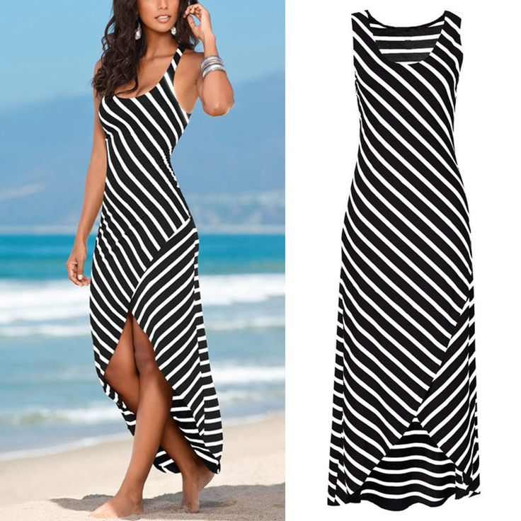 Charlee Cooper Black And White Striped Strappy Long Maxi Dress