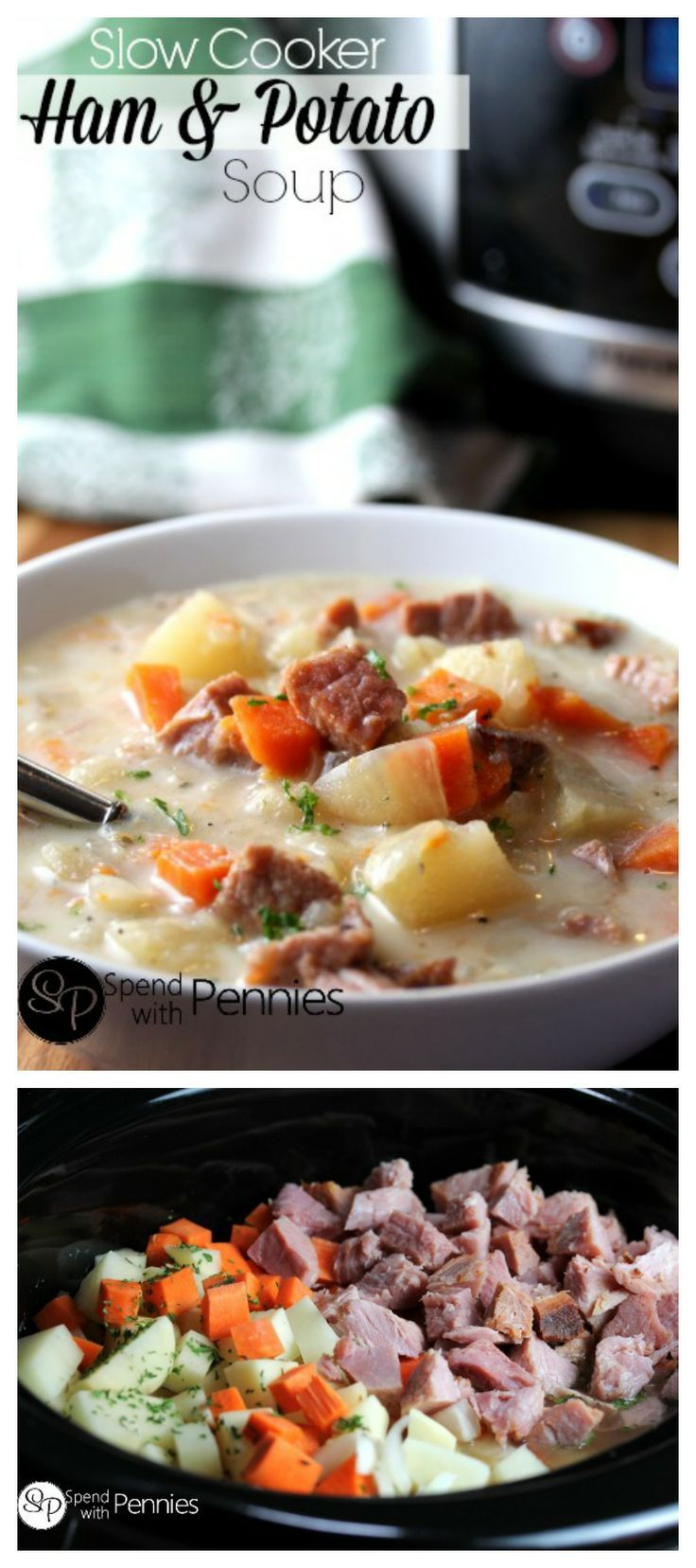 Delicious Ham & Potato soup in the slow cooker!  This is such a great meal to come home to! ♥