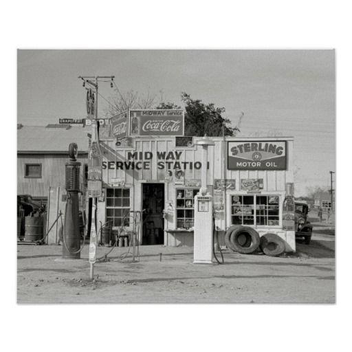 Midway Service Station 1939 Vintage Photo Poster
