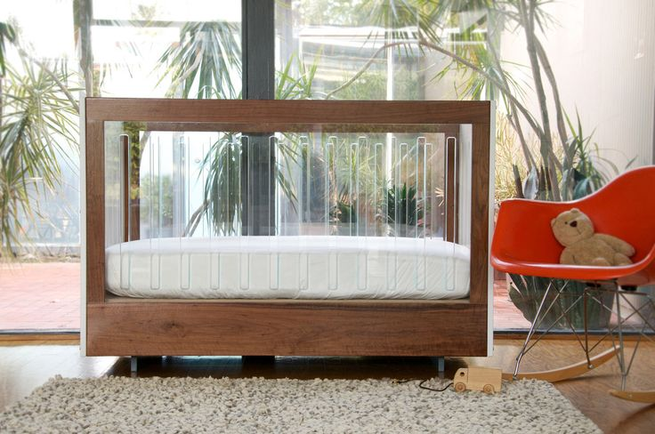 WALNUT AND LUCITE ROH CRIB | LQ SHOP