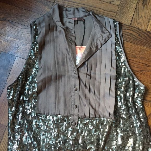 Reiss tuxedo sequin top Beautiful and new with tags still attached! Great for jeans or dressing up in a smokey grey colour (runs small) Reiss Tops Blouses
