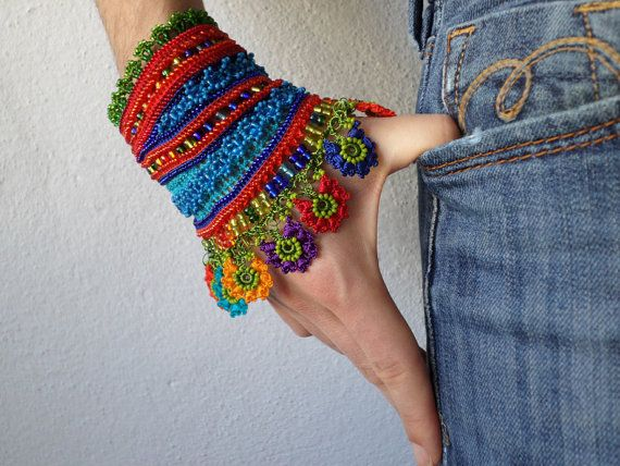 colorful beaded cuff bracelet with by irregularexpressions on Etsy