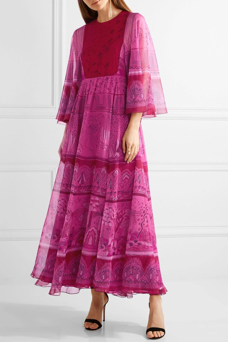 Printed silk-chiffon maxi dress   VALENTINO   Sale up to 70% off   THE OUTNET