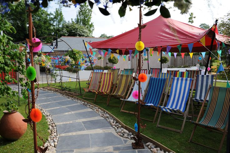 Our Vintage Deckchairs make the perfect ceremony seating at the funky elopement venue of @lowerbarns Cornwall