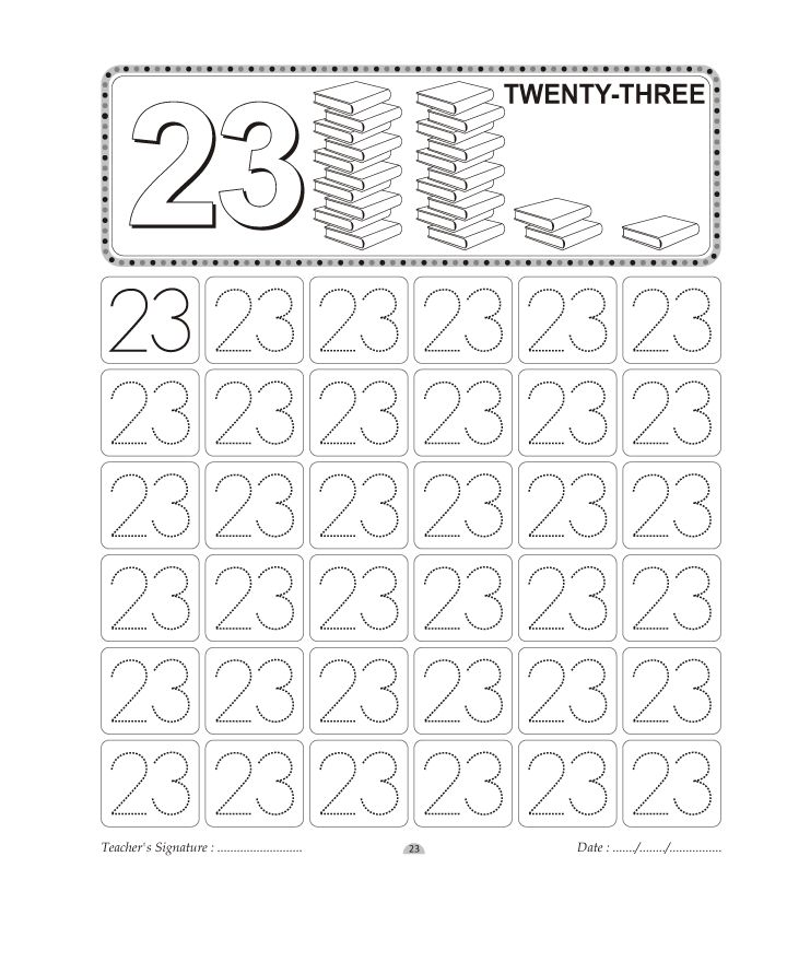 Number Tracing worksheet 23 Homeschooling Number