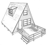 3 free plans A Frame House Plan with Deck Image
