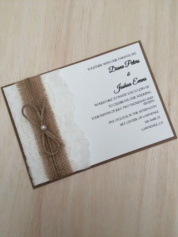 Rustikale Hochzeitseinladung Spitzen und von RusticInvitesAndmore