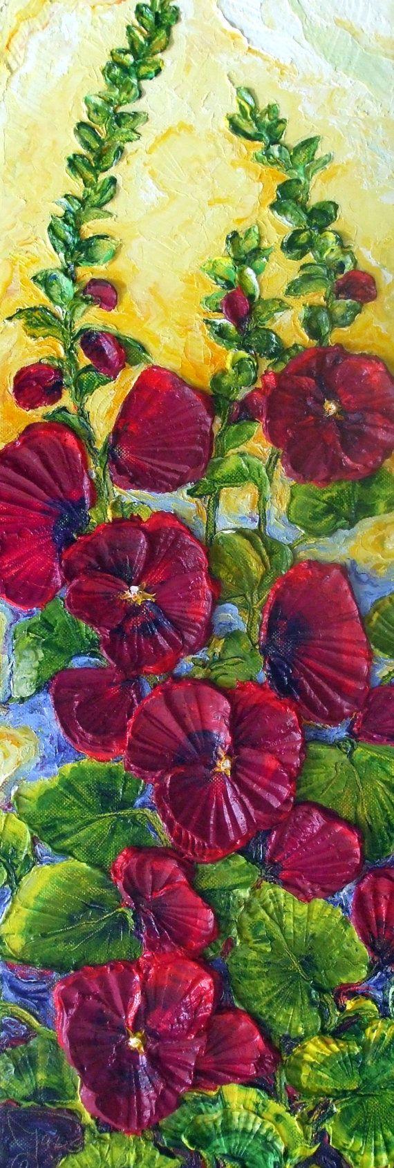 Deep Red Hollyhocks Original Impasto Oil Painting by Paris Wyatt Llanso via Etsy